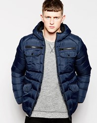 Brave Soul Padded Jacket With Hood Navy