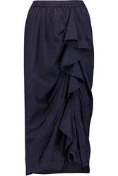 Clu Ruffled Cotton And Silk Blend Skirt Blue