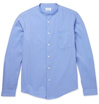 Hartford Slim Fit Grandad Collar Cotton Shirt Blue