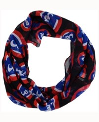 Forever Collectibles Chicago Cubs All Over Logo Infinity Wrap Scarf Black Red Blue