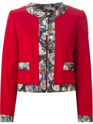 Moschino Can Print Trim Jacket Red