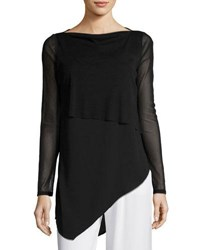 Philosophy Long Sleeve Drape Front Top Black