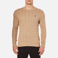 Polo Ralph Lauren Men's Crew Neck Cable Knitted Jumper Camel Melange Beige
