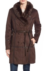 Women's Steve Madden Belted Faux Shearling Coat Chocolate