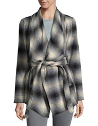 Bb Dakota Plaid Wrap Coat Grey