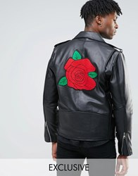 Reclaimed Vintage Leather Biker Jacket With Rose Back Patch Black