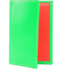 Comme Des Garcons Fluoro Leather Card Holder Green
