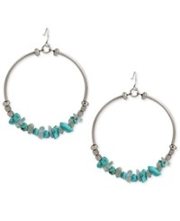 Kenneth Cole New York Silver Tone Stone Chip Gypsy Hoop Earrings Turquoise