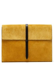 Smythson Suede And Leather Document Holder Yellow