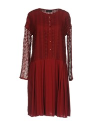Twin Set Jeans Knee Length Dresses Maroon