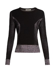 Marco De Vincenzo Long Sleeved Ribbed Knit Sweater Purple Multi
