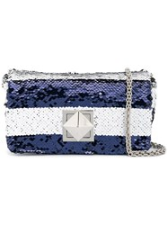 Sonia Rykiel Striped Sequinned Crossbody Bag Blue