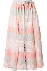 Lemlem Dera Godet Striped Cotton Blend Gauze Midi Skirt Pastel Pink