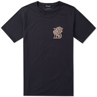 Balmain Embroidered Lion Badge Tee Black