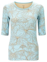 Marc Cain Dragonfly Print Jersey Top Mykonos Blue