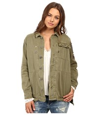 Free People Embellished Military Jacket Olive Women's Coat