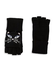 Kate Spade Cat Pop Top Convertible Gloves Black