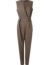 Andrea Marques Belted Waist Jumpsuit Grey