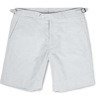 Orlebar Brown Norwich Striped Mid Length Cotton Seersucker Shorts Blue