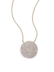 Phillips House Pave Diamond And 14K Yellow Gold Infinity Disc Pendant Necklace