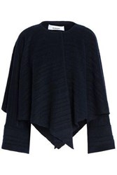 Chalayan Cape Effect Brushed Wool Blend Jacket Navy