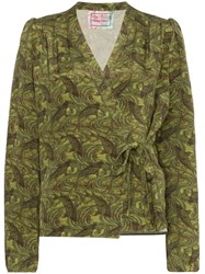By Walid Haidee Japanese Print Blouse Green