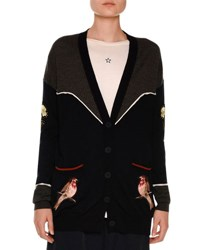 Stella Mccartney Western Bird Embroidered Cardigan Charcoal Ink Charcoal Ink