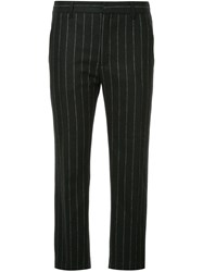 Hope Pinstripe Cropped Trousers Acrylic Polyamide Polyester Wool Black