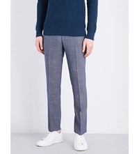 Sandro Slim Fit Mid Rise Wool Trousers Blue