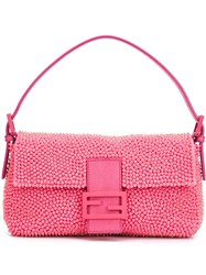 Fendi Beaded 'Baguette' Shoulder Bag Pink And Purple