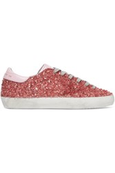 Golden Goose Deluxe Brand Superstar Distressed Leather Paneled Glittered Rubber Sneakers Pink