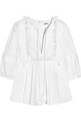 Talitha Geeti Tasseled Pintucked Lace Trimmed Cotton Blouse White