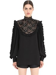 Nena Ristich Embellished Silk Shirt With Lace Insert