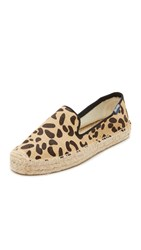 Soludos Haircalf Platform Smoking Slipper Espadrilles Leopard Print