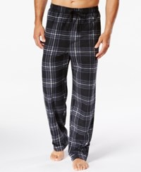 Perry Ellis Men's Plaid Fleece Pajama Pants Grey Black