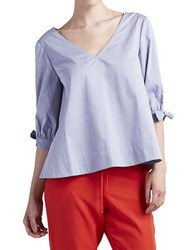Paper Crown Tie Accented Chambray Top