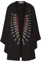 Mara Hoffman Embroidered French Cotton Terry Hooded Cape Black