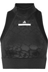 Adidas By Stella Mccartney Printed Paneled Mesh And Climalite Stretch Sports Bra Black