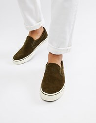 Polo Ralph Lauren Thompson Suede Slip On Trainers In Olive Green Deep Olive
