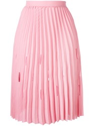 Marco De Vincenzo Pleated Midi Skirt Women Polyester 44 Pink Purple