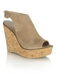 Daniel New Mexico Peep Toe Ankle Strap Wedges Beige