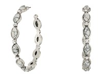 Mandf Western Hoops With Oval Stones Earrings Silver White Earring