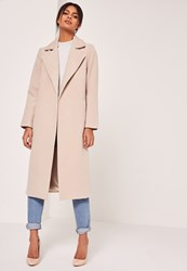 Missguided Longline Faux Wool Duster Coat Nude Stone