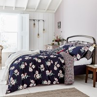 Joules Painted Poppies Duvet Cover Navy Blue