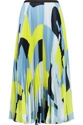 Raoul Pleated Printed Georgette Midi Skirt Blue