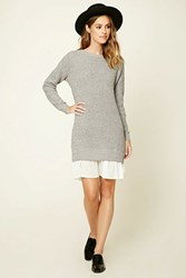 Forever 21 Contemporary Marled Combo Dress Heather Grey Ivory