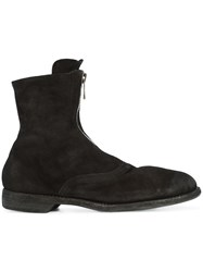 Guidi Zipped Ankle Boots Leather Suede Black
