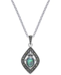 Macy's Marcasite And Paua Shell Pendant Necklace In Silver Plate