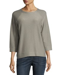 Brunello Cucinelli Round Neck Cashmere Blend Sweater Gray