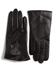 Lord And Taylor Cashmere Lined Leather Gloves Black
